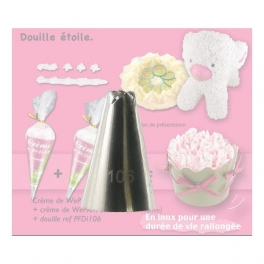 Douille en inox -  imitation chantilly -  N° 106 -  forme d'étoile -