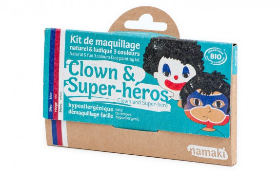 kit de maquillage bio Namaki 3 couleurs Clown et Super-heros - vue 3d